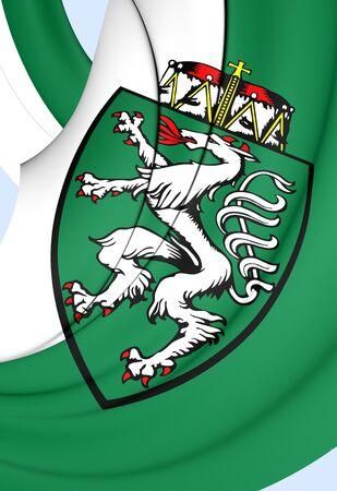 steiermark: 3D Flag of Styria Bundesland, Austria. Close Up.
