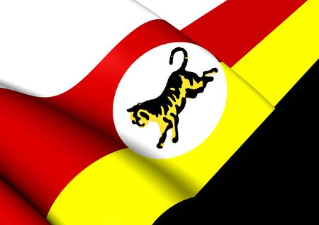 federated: 3D Flag of Federated Malay States (1895-1946). Close Up.