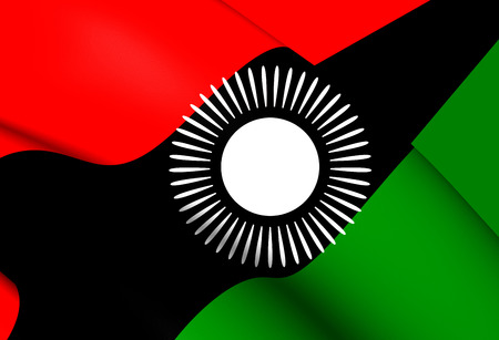 malawian: 3D Flag of Malawi (2010-2012). Close Up. Stock Photo