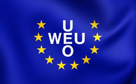 western european: 3D Flag of Western European Union (1954-2011). Close Up. Stock Photo