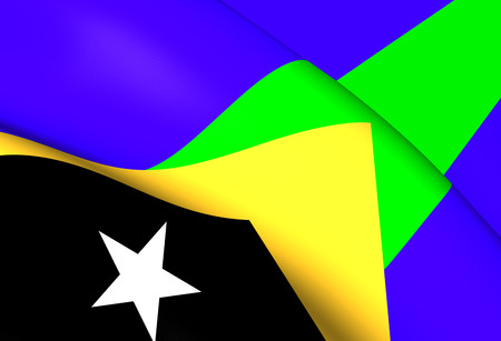 timor: 3D Flag of Manatuto District, East Timor. Close Up. Stock Photo