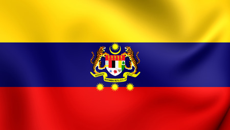 territories: 3D Flag of Federal Territories (Malaysia). Close Up.