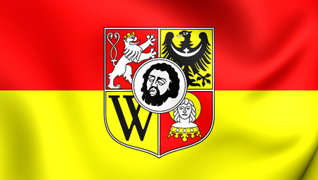 wroclaw: 3D Flag of Wroclaw City, Poland. Close Up.