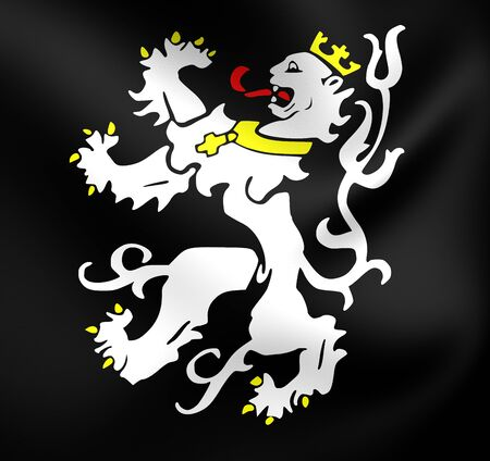 blason: 3D Flag of Ghent City, Belgium. Close Up. Stock Photo