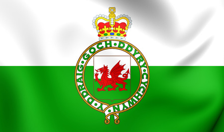 cymru: 3D Flag of Wales (1953-1959). Close Up.