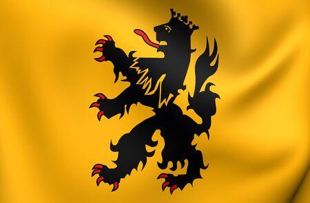 3D Vlag van Hulst City, Nederland. Detailopname.