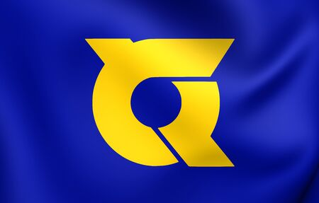 3D Flag of Tokushima Prefecture, Japan. Close Up. Stock Photo