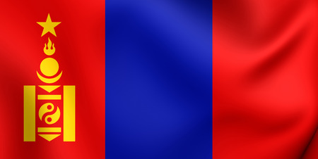 peoples: 3D Flag of Mongolian Peoples Republic (1940-1992). Close Up. Stock Photo