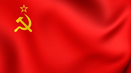communistic: 3D Flag of the Soviet Union. Close Up.