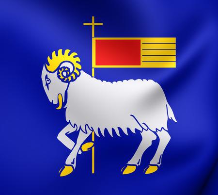 3D Flag of Gotland County, Sweden. Close Up.