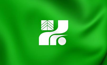 3D Flag of Tochigi Prefecture, Japan. Close Up.