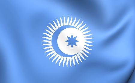 council: 3D Flag of Turkic Council. Close Up.