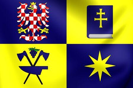 the czech republic: 3D Flag of Zlin Region, Czech Republic. Close Up.
