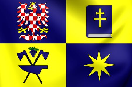region: 3D Flag of Zlin Region, Czech Republic. Close Up.