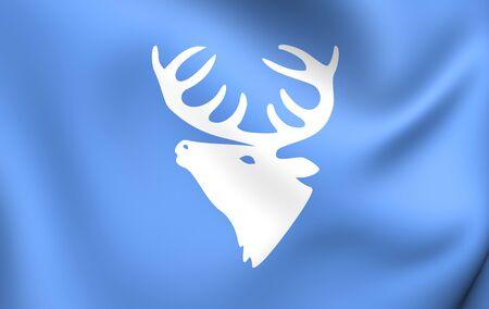 municipality: 3D Flag of Hitra Municipality, Norway. Close Up.
