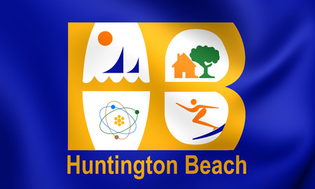orange county: 3D Flag of Huntington Beach City, California, USA. Close Up.