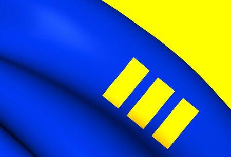 limburg: 3D Flag of Meijel, Netherlands. Close Up. Stock Photo