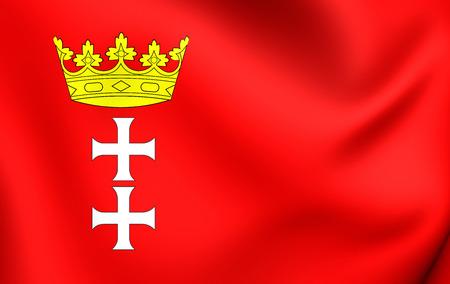 gdansk: 3D Flag of Gdansk City, Poland. Close Up.