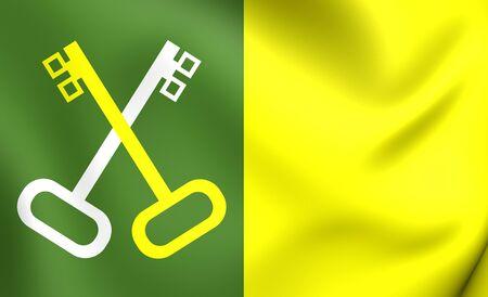municipality: 3D Flag of Toa Baja Municipality, Puerto Rico. Close Up. Stock Photo