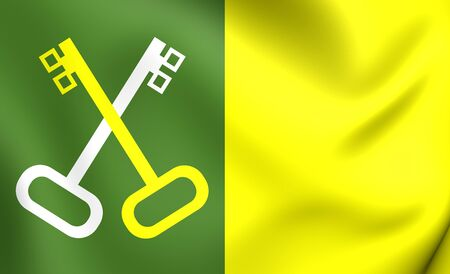 bandera de puerto rico: Bandera 3D del Municipio de Toa Baja, Puerto Rico. De cerca.