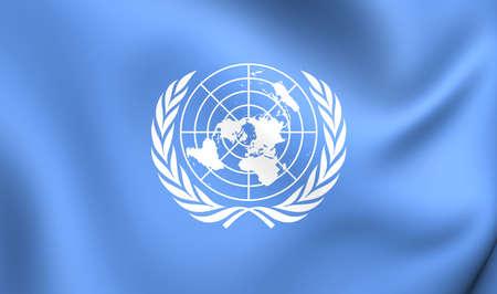 nazioni unite: Bandiera 3D delle Nazioni Unite. Avvicinamento. Archivio Fotografico
