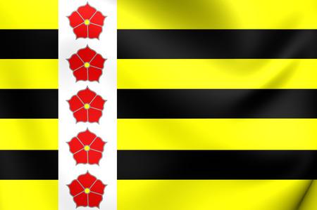 maas: 3D Flag of Horst aan de Maas City, Netherlands. Close Up. Stock Photo