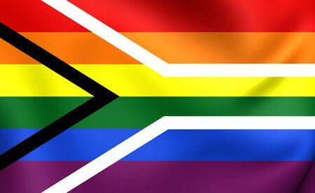 bandera gay: Bandera Gay de Sud�frica. Acercamiento. Foto de archivo