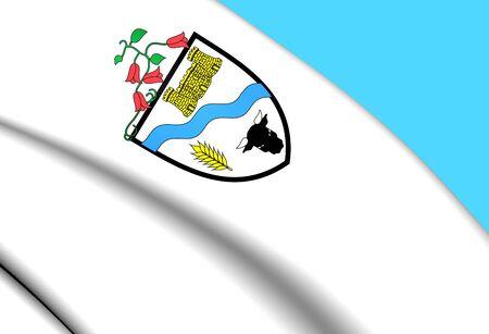 3D Flag of Rio Bueno City, Chile. Close Up.