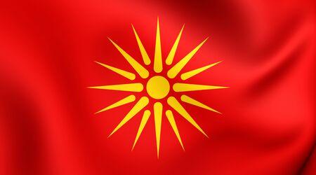 macedonia: Republic of Macedonia 3D Flag (1992-1995). Close Up. Stock Photo
