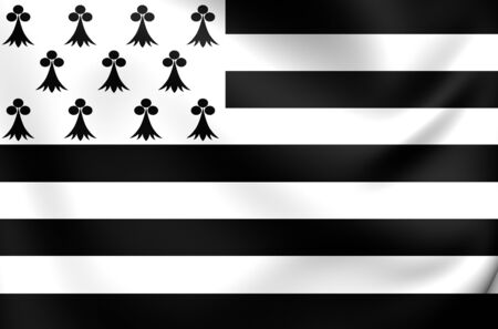 ha: 3D Flag of Brittany Region, France. Close Up. Stock Photo