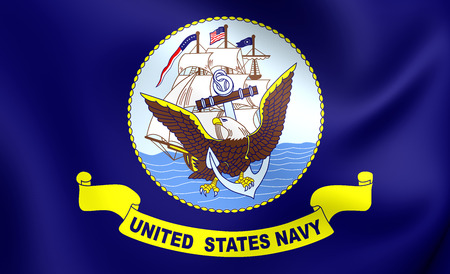 United States Navy 3D Flag. Close Up. Фото со стока