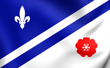 bonnie: 3D Flag of the Franco Albertains. Close Up. Stock Photo