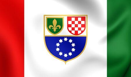 bosna and herzegovina: Federation of Bosnia and Herzegovina 3D Flag (1996-2007). Close Up. Stock Photo