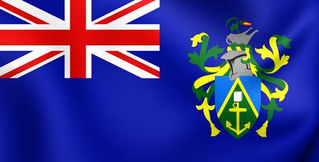 pitcairn: 3D Flag of the Pitcairn Islands. Close Up.