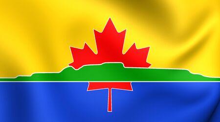 3D Flag of Thunder Bay City, Canada. Close Up. Stock Photo