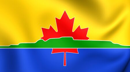 ontario: 3D Flag of Thunder Bay City, Canada. Close Up. Stock Photo