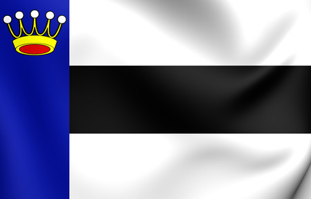 it is full: 3D Flag of Heerenveen City, Netherland. Close Up.
