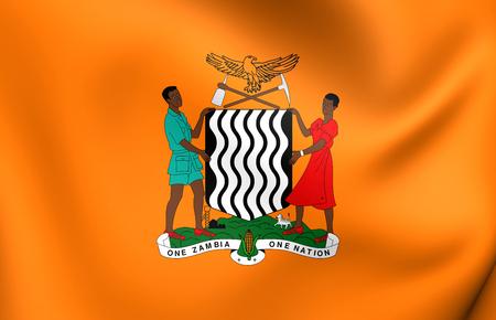 zambian flag: President of Zambia 3D Standard. Close Up.