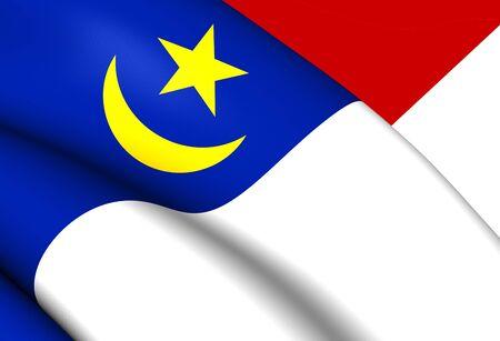 3d flag: 3D Flag of Malacca, Malaysia. Close Up.