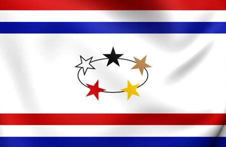 governor: Governor of Dutch Guyana (1966-1975) 3D Flag. Close Up.