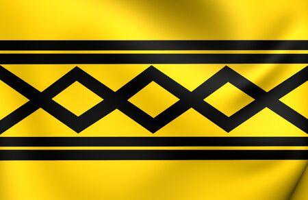 midlands: 3D Flag of West Midlands County, England. Close Up.