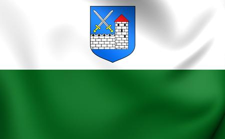 3D Flag of Ida-Viru County, Estonia. Close Up.