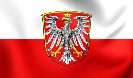 frankfurt germany: 3D Flag of Frankfurt am Main, Germany. Close Up. Stock Photo