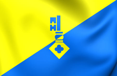 en: 3D Flag of Gilze en Rijen City, Netherlands. Close Up. Stock Photo