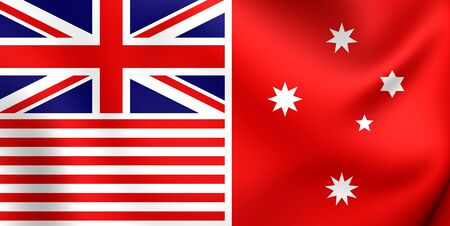 proposed: Melbourne Evening Herald Flag (red). Proposed Flag of Australia. Close Up. Stock Photo