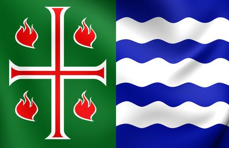 municipality: 3D Flag of Mayaguez Municipality, Puerto Rico. Close Up.