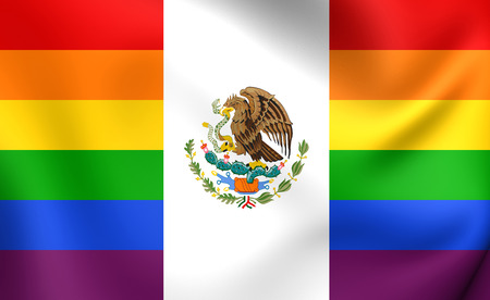 mexican flag: Mexico Gay Flag. Close Up.