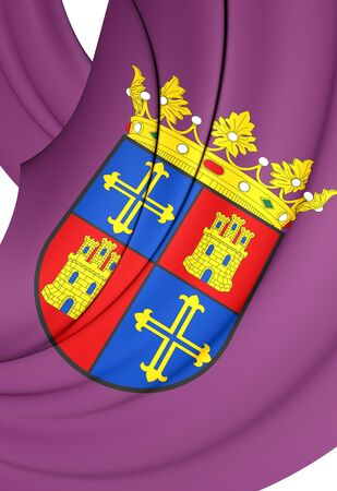 castilla: 3D Flag of Palencia City, Spain. Close Up. Stock Photo