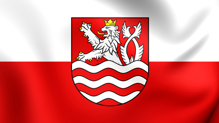 karlovy: 3D Flag of Karlovy Vary City, Czech Republic. Close Up.