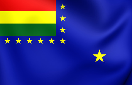 naval: 3D Naval Ensign of Bolivia. Close Up. Stock Photo